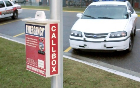 Emergency call boxes are located campuswide, including in front of the University Police station.