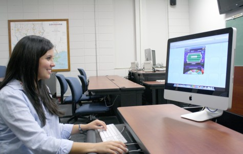 Abbie Lapeyrouse, nursing senior from Houma, practices Wheel of Fortune on a computer in Talbot Hall on Tuesday.