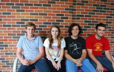 From left, Caleb White, social studies education senior from Bourg, Beth Detiveaux, band vocalist, Kenneth Kreamer, general studies junior from Houma, and Jacob Williams, English junior from Bourg, members of indie rock band Autumn High, hang out in front of the Union Monday, April 16.