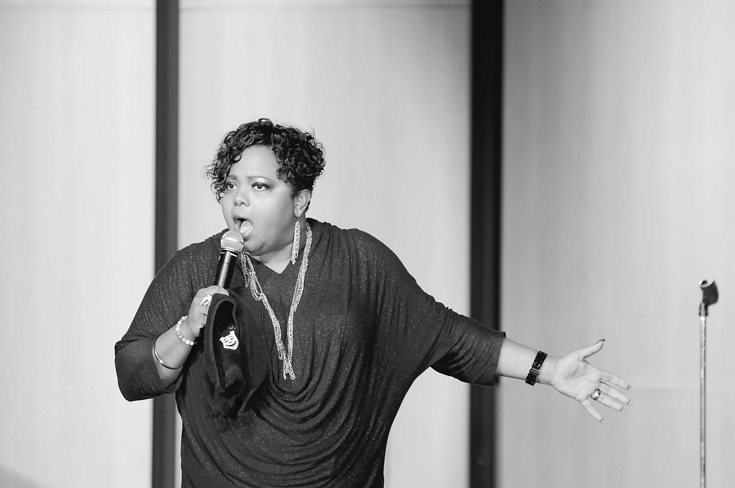 Comedian, Coaco Brown, made the crowd laugh until they cried with her outrageous comedy at SGA's comedy night in Peltier Auditorium on Monday night.
