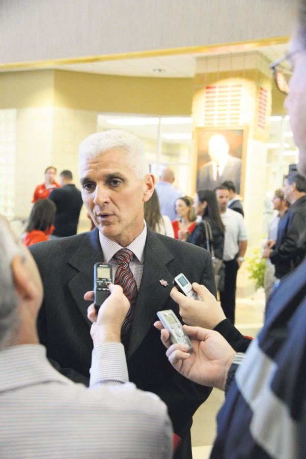 Nicholls State University football coach Tim Rebowe is interviewed during press conference to announce his hiring.