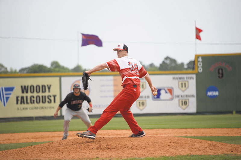 Justin Sinibaldi, #39, a junior from Kenner, Louisiana, pitches at his game against Incarnate Word on April 2nd.