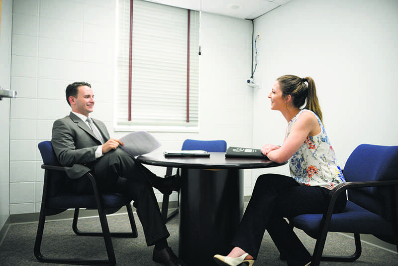 Jessica Daigrepont a senior from Slidell majoring marketing participated in the Mock Interviews put on by NSPIRE and Nicholls Office of Career Services on November 15, 2016. She was interviewed by Joel Picolo a Nicholls Alumni, who works for Dynamic Retail Solutions.