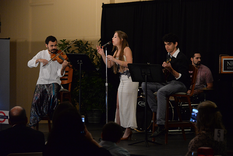 "Joao Felipe da Fraga(Brazil), Fabio Dantas Costa (Brazil), Gavin Chauvin(USA), and Alyssa Gaudet (USA) perform ""Lucy in the sky with Diamonds"" perform at the International Banquet that was held in the Ballroom on November 6th."