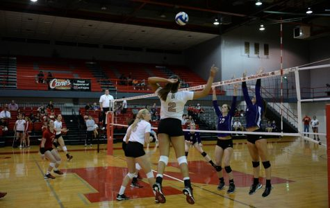 Brieanna Hill #2 a sophomore from Berwick spikes the ball durring the Nicholls Colonels Vs. the Arkansas Sugar Bears that was on Thursday, September 22nd at the Stopher gym.