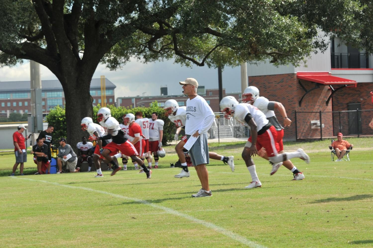 Coach Rebowe looks onto his Colonels as they have their first practice session before their first game against McNesse on August 31, 2017.