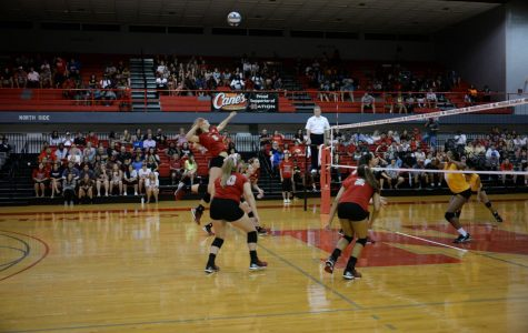 Stephanie Tobison #5 junior from Carol Stream, Ill. jumps to spike the ball at the Nicholls Colonels Vs. Southern Jaguars on August 31, 2016 at Stopher Gym.