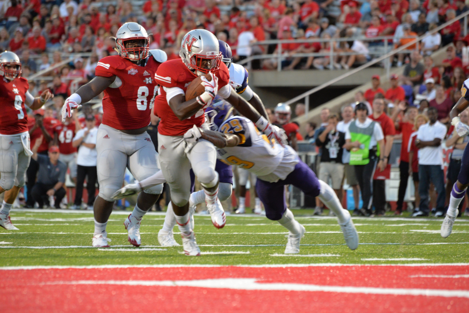 #22 Jeremy Rounds blocks Prairie View's #29 Raleigh Johnson for Nicholls State Vs. Prairie View A&M on September 16, 2017.