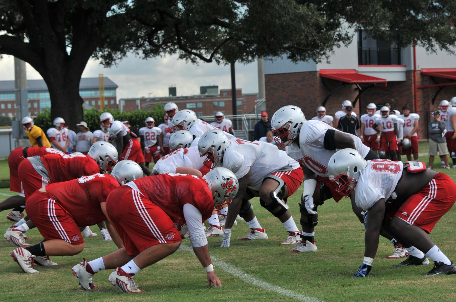 Colonels line up for the third play of afternoon practice on Aug. 22.