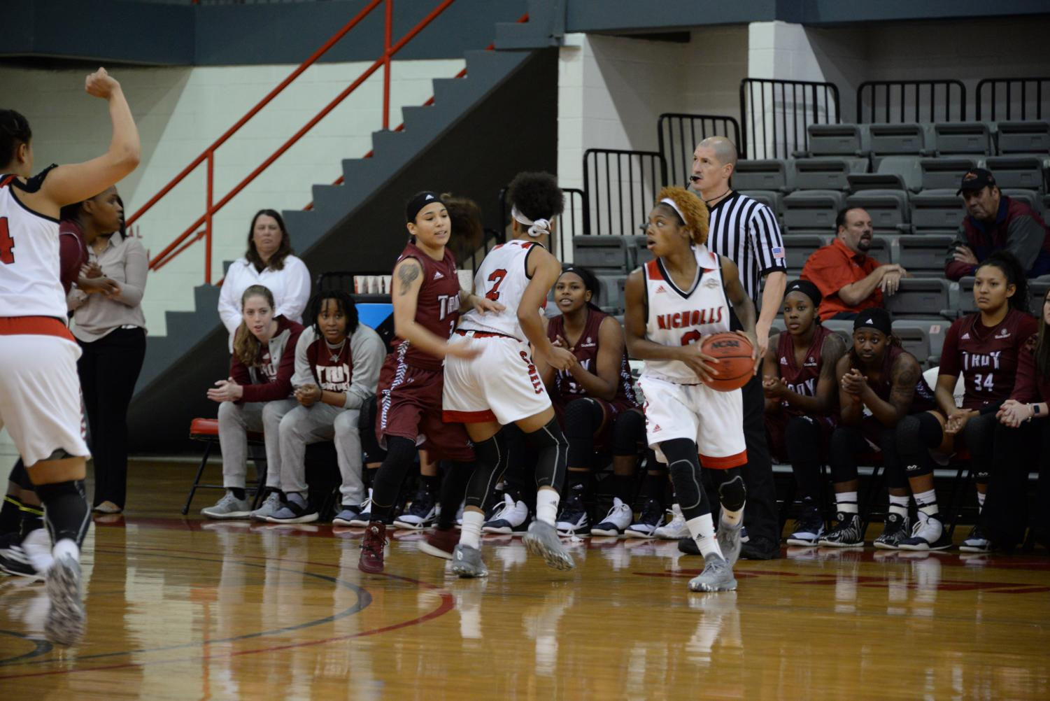 Emani White #0 a senior from New Orleans runs with the ball during the Troy Vs. Nicholls basketball game that took place on December 14, 2016 in Stopher Gym.