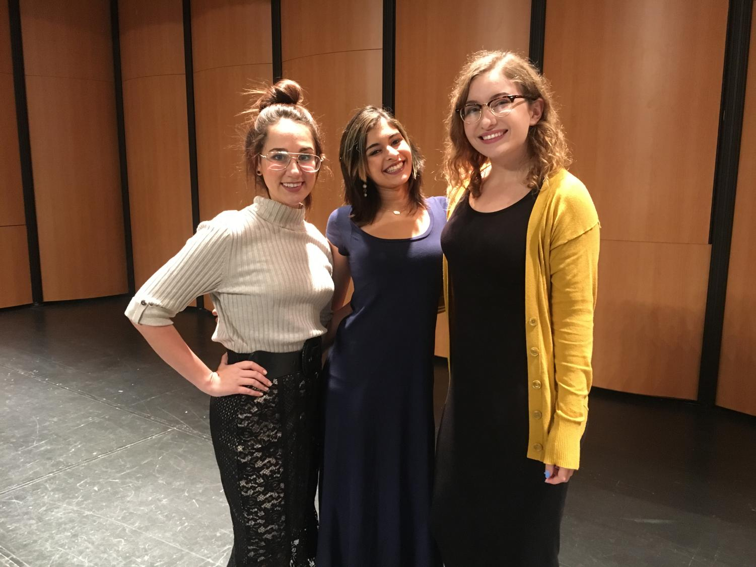 From left to right, speakers Morgan Brunet, Mishi Banerjee and Alysse Arceneaux pictured after the Speech Forum on Nov. 8.