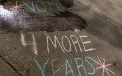 The College Republicans express political views on sidewalks without permission